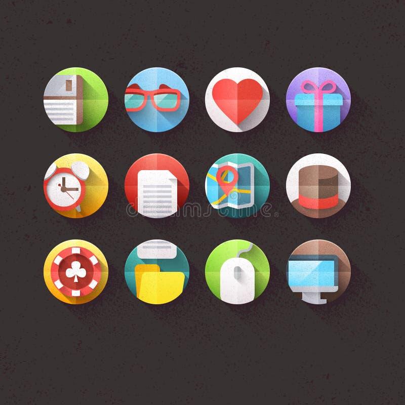 Plana symboler för mobil och uppsättning 1 för rengöringsdukapplikationer vektor illustrationer