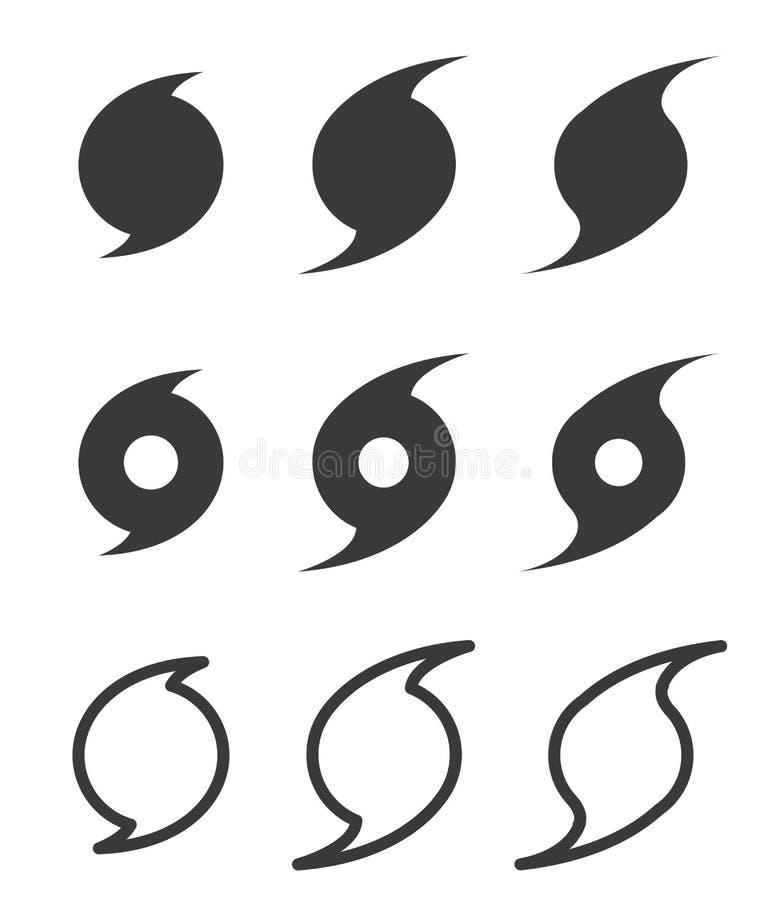 Plana symboler för orkan, vektor royaltyfri illustrationer