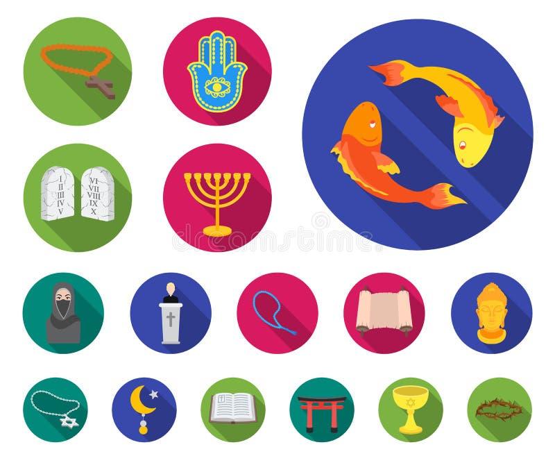 Plana symboler för religion och för tro i uppsättningsamlingen för design Tillbehör illustration för rengöringsduk för materiel f royaltyfri illustrationer
