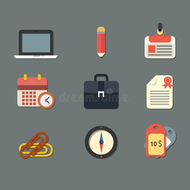Plana symboler för rengöringsduk- och mobilapplikationer royaltyfri illustrationer