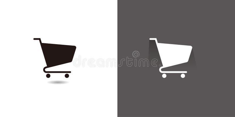 Plana symboler för rengöringsduk för shoppingvagn royaltyfri illustrationer