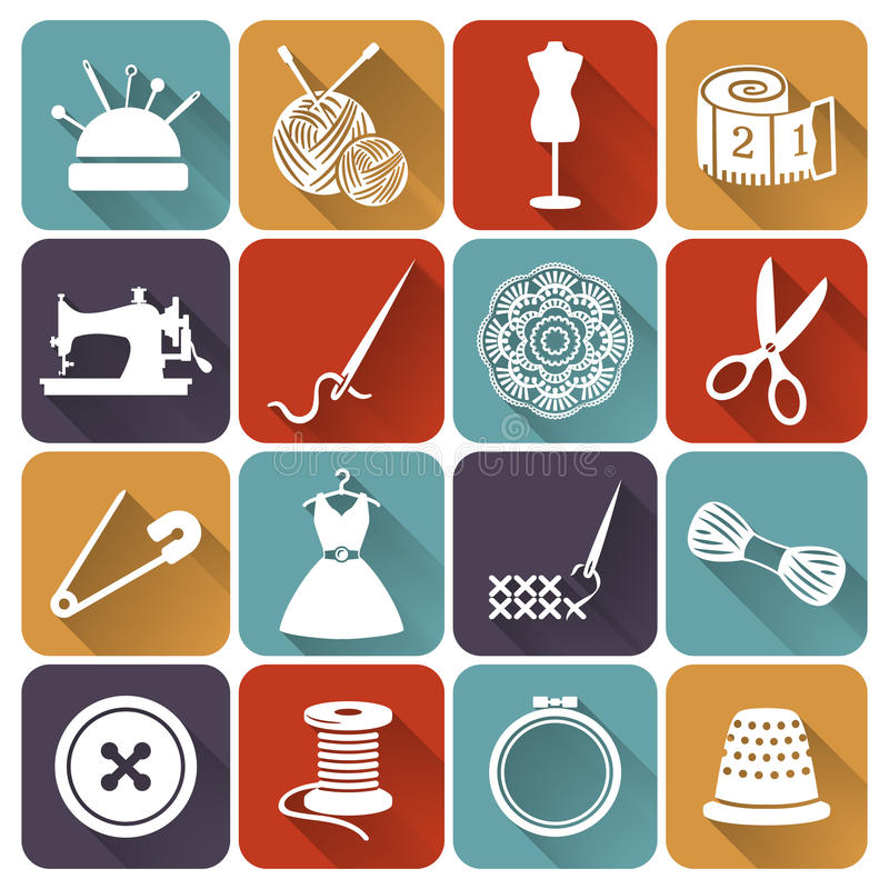 Plana symboler för sömnad och för handarbete vektor för set för tecknad filmhjärtor polar royaltyfri illustrationer