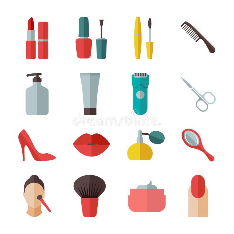 Plana symboler för skönhet och för makeup stock illustrationer