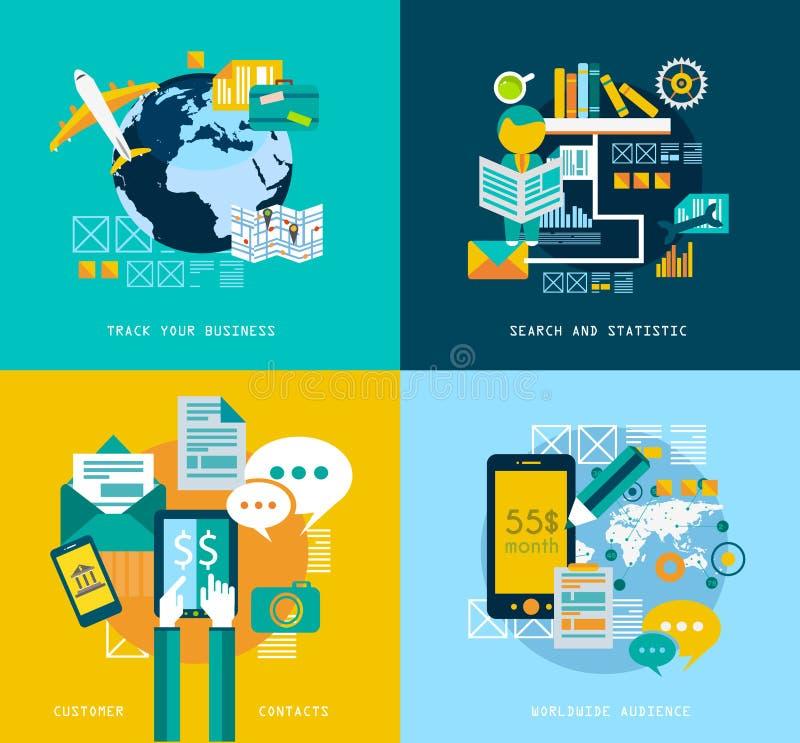 Plana symboler för stil UI för infographics royaltyfri illustrationer