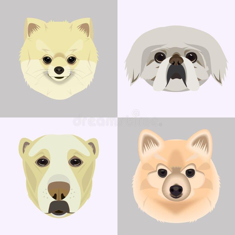 Plana symboler för stilhundhuvud Uppsättning för tecknad filmhundkapplöpningframsidor royaltyfri illustrationer