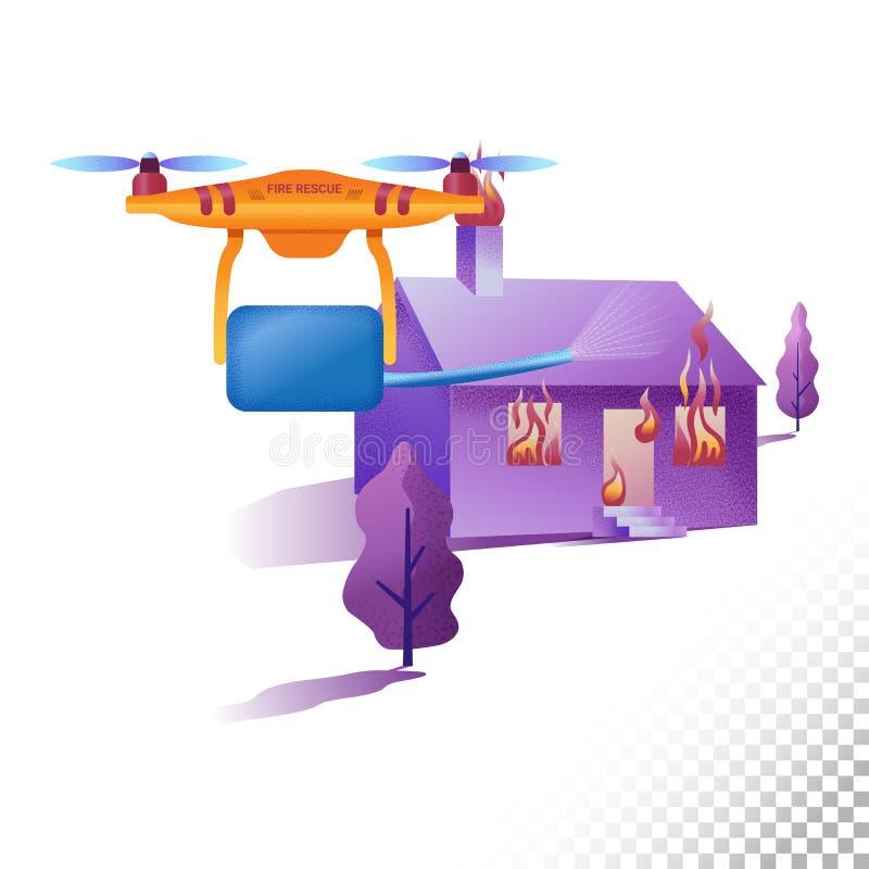 Plana symboler för surr eller för quadcopter BrandmanUnmanned flygplan släcker branden Vektorillustration på ett genomskinligt vektor illustrationer
