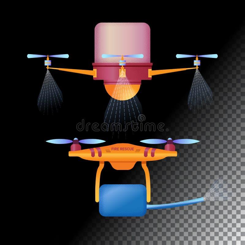 Plana symboler för surr eller för quadcopter Jordbruks- obemannat flygplan av olik avsikt och brandsurr vektor stock illustrationer