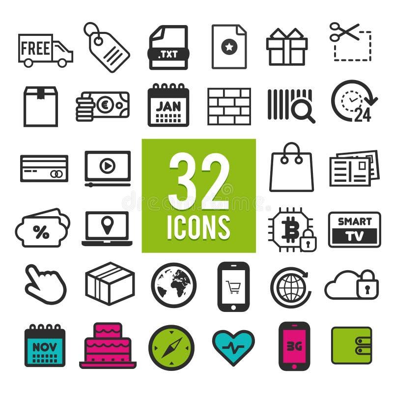 Plana symboler för uppsättning, for rengöringsduk- och mobilapps och manöverenhetsdesign - lopp och shopping för affärsfinanstran royaltyfri illustrationer