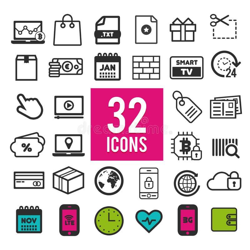 Plana symboler för uppsättning, för rengöringsduken och mobilapps - finans, lopp, massmedia, shopping, kommunikation och läkarund vektor illustrationer