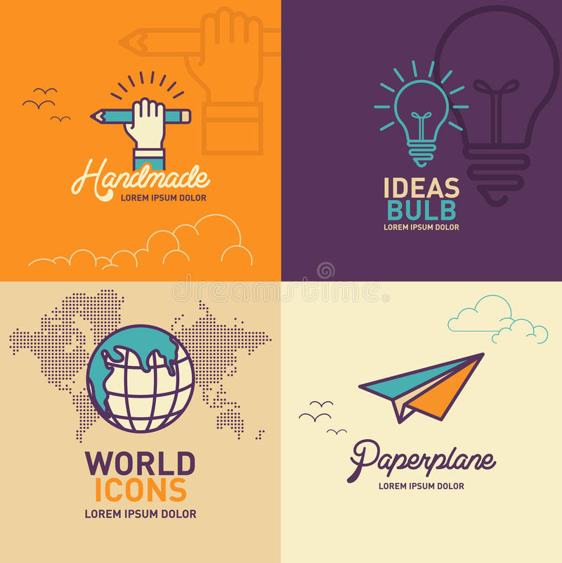Plana symboler för utbildning, symbol för handinnehavblyertspenna, symbol för ljus kula, världssymbol, plan symbol för papper stock illustrationer