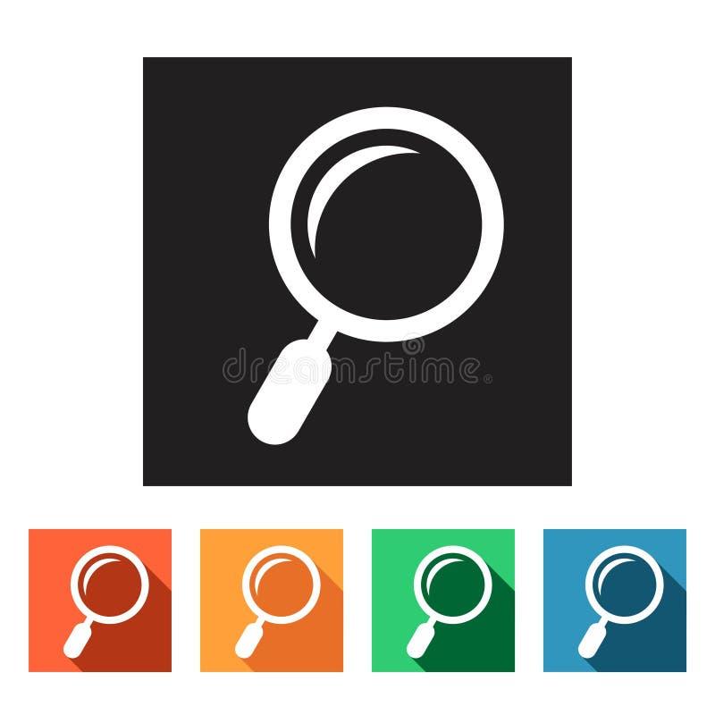 Plana symboler (förstoringsglas, sökandet), vektor illustrationer