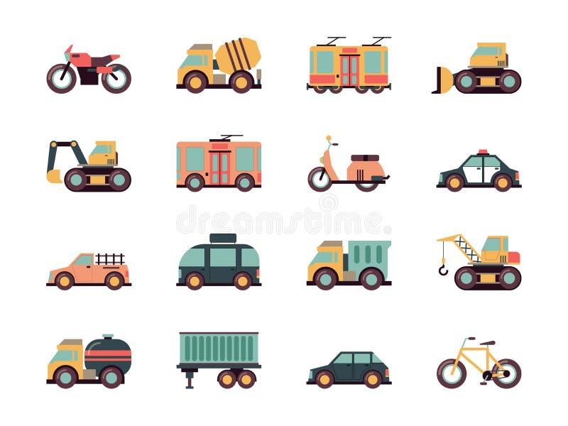 Plana symboler f?r transport Den stads- vektorn för trans. för bränsle för flygplanet för medelbilbussar färgade symboler royaltyfri illustrationer