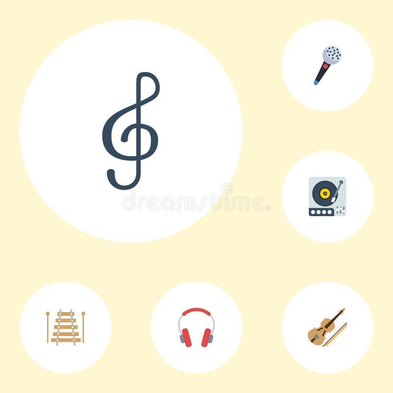 Plana symboler hörlur, lurendrejeri, musikinstrument och andra vektorbeståndsdelar Uppsättning av symboler för studiolägenhetsymb vektor illustrationer