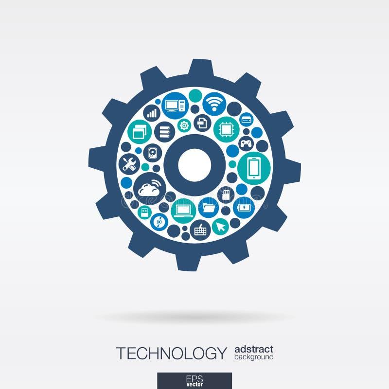 Plana symboler i kugghjul formar, teknologi, molnet som beräknar, digitalt mekanismbegrepp royaltyfri illustrationer