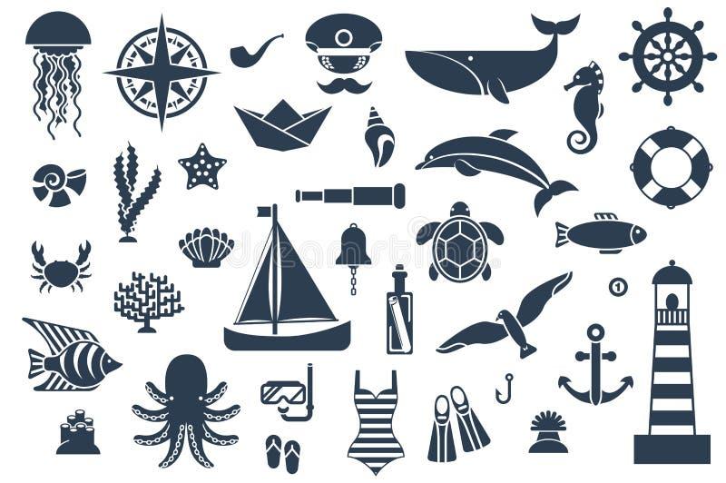 Plana symboler med havsvarelser och symboler stock illustrationer