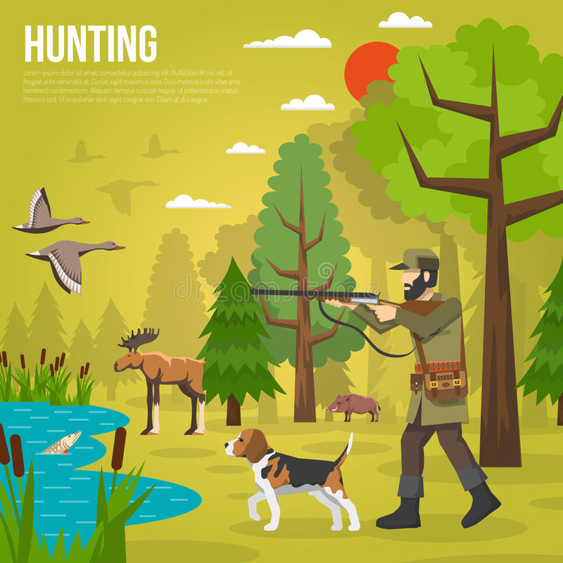 Plana symboler med Hunter Aiming At Ducks vektor illustrationer