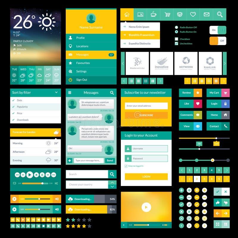 Plana symboler och beståndsdelar för mobilen app och rengöringsdukdes royaltyfri illustrationer