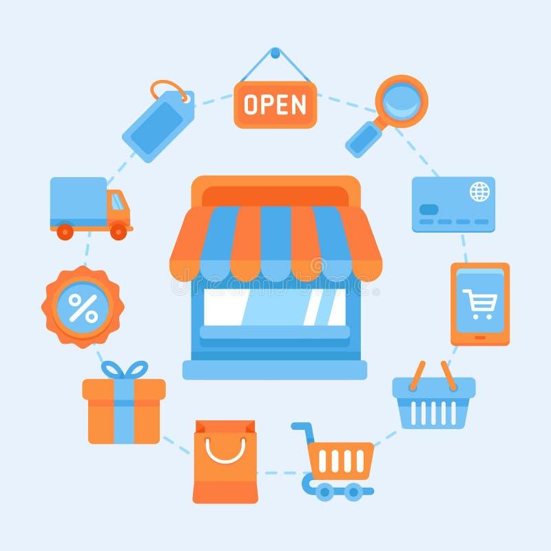 Plana symboler - shoppingbegrepp stock illustrationer