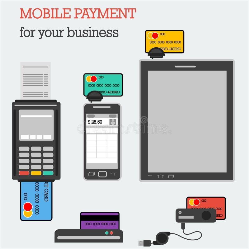 Plana symboler som packar ihop utrustning med kreditkortar royaltyfri illustrationer