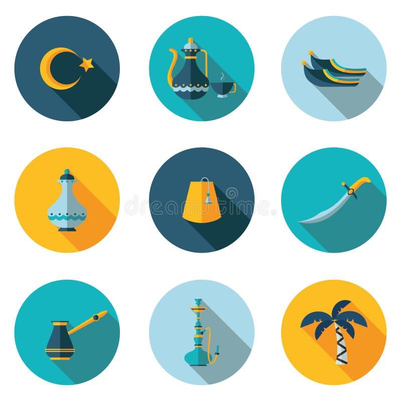 Plana symboler Turkiet stock illustrationer