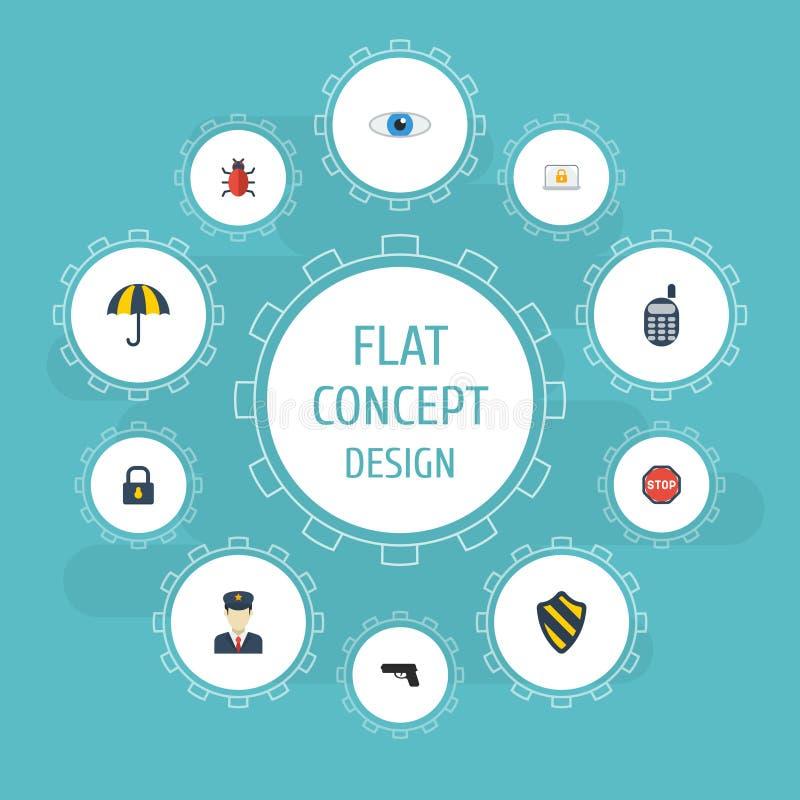 Plana symboler vapen, hänglås, polis och andra vektorbeståndsdelar Uppsättningen av att uppbringa plana symbolssymboler inkludera vektor illustrationer