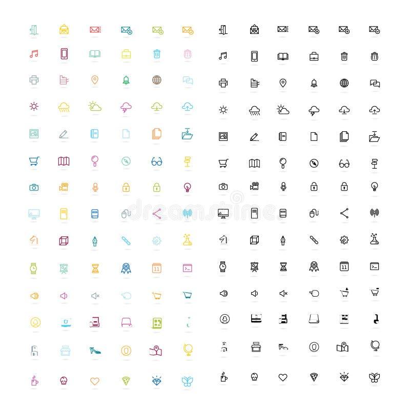 Plana symbolsdesigner, symbolsuppsättning vektor illustrationer