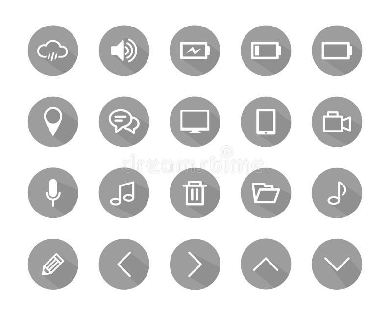 Plana symbolsgrå färger färgar, plana symboler, symboler ställde in, symbolsvektorn royaltyfri illustrationer