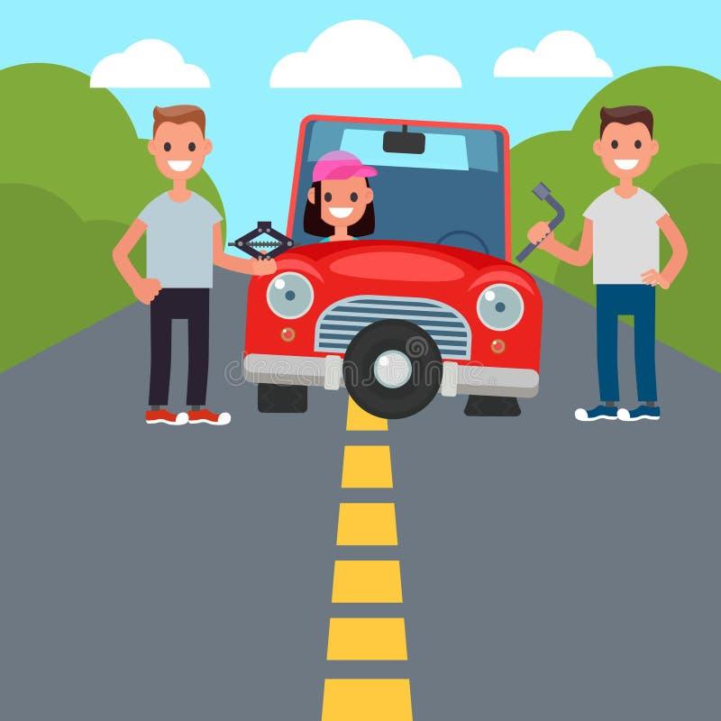 Plana tecken för designbilkörning Dela för bil ändring för plant gummihjul vektor royaltyfri illustrationer