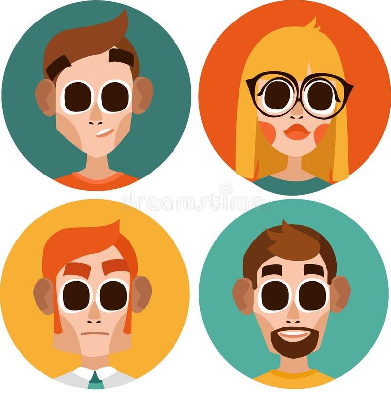 Plana tecken för kontorsarbetare män och blond kvinna i exponeringsglas arkivbilder
