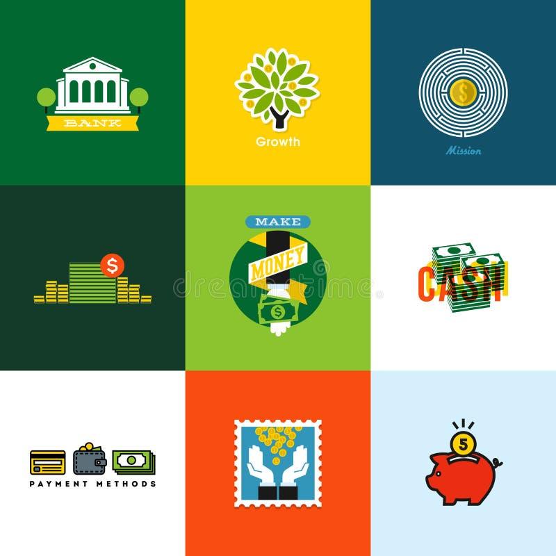 Plana vektorpengarbegrepp Idérika symboler av plånboken som packar ihop stock illustrationer