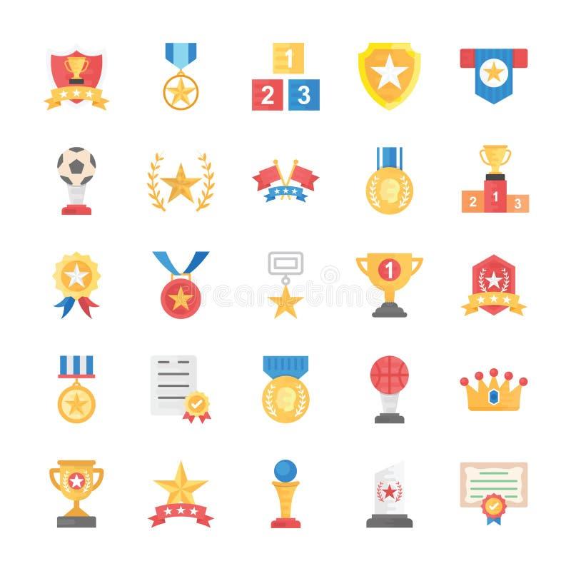 Plana vektorsymboler av belöningar och medaljer royaltyfri illustrationer