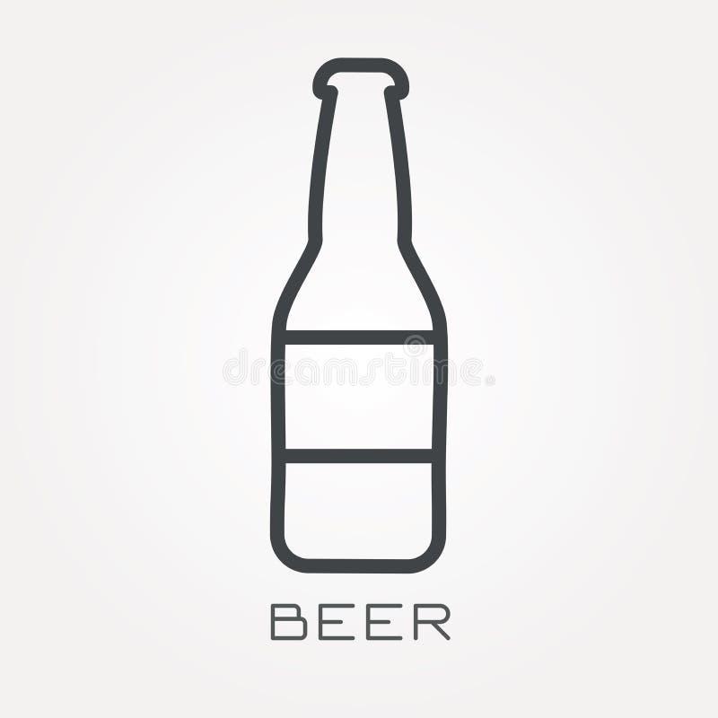 Plana vektorsymboler med öl royaltyfri illustrationer