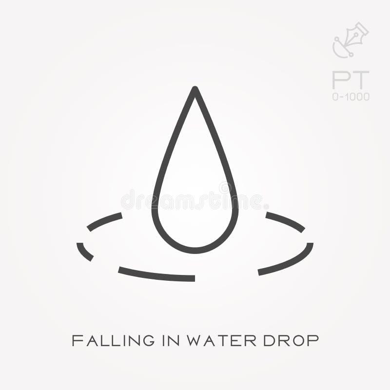 Plana vektorsymboler med att falla i vattendroppe vektor illustrationer