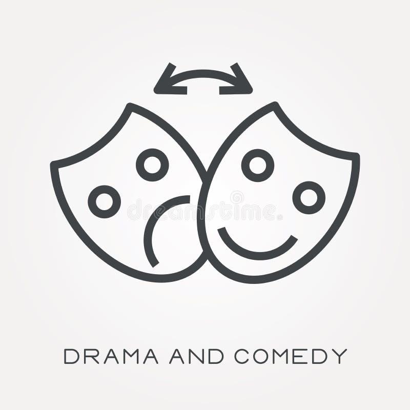 Plana vektorsymboler med drama och komedi royaltyfri illustrationer