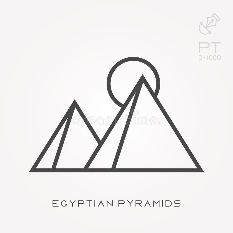 Plana vektorsymboler med egyptiska pyramider vektor illustrationer