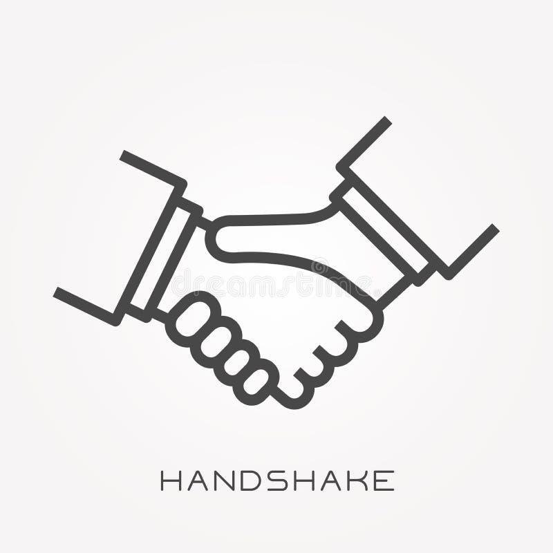 Plana vektorsymboler med handskakningen stock illustrationer