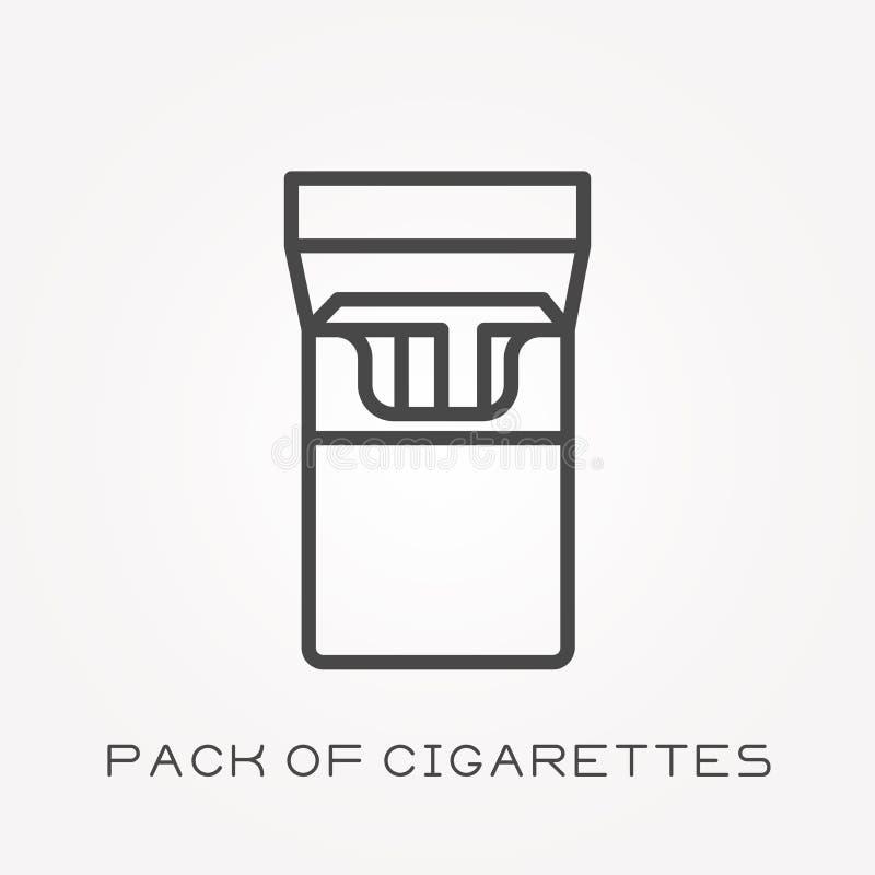 Plana vektorsymboler med packen av cigaretter stock illustrationer