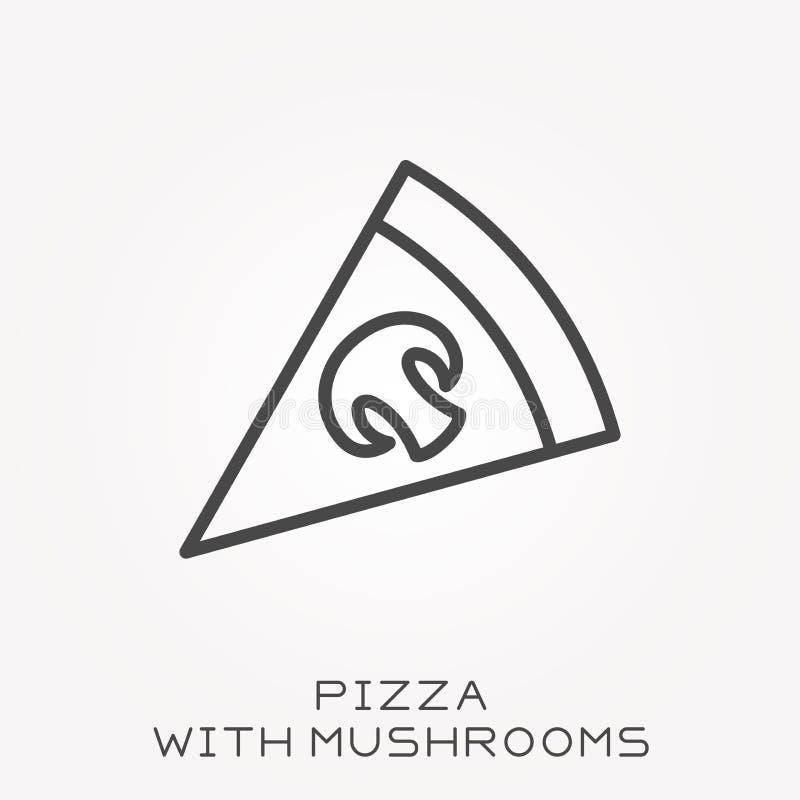 Plana vektorsymboler med pizza och champinjoner vektor illustrationer