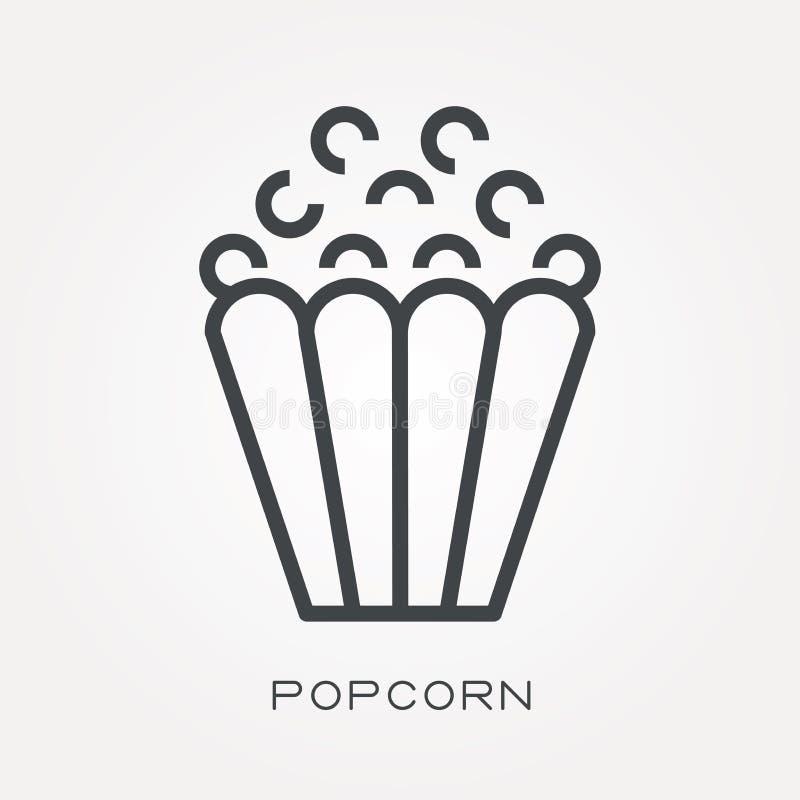 Plana vektorsymboler med popcorn vektor illustrationer