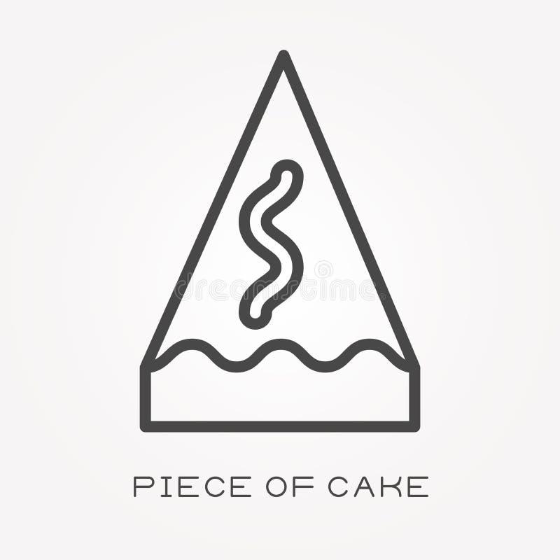 Plana vektorsymboler med stycket av kakan royaltyfri illustrationer