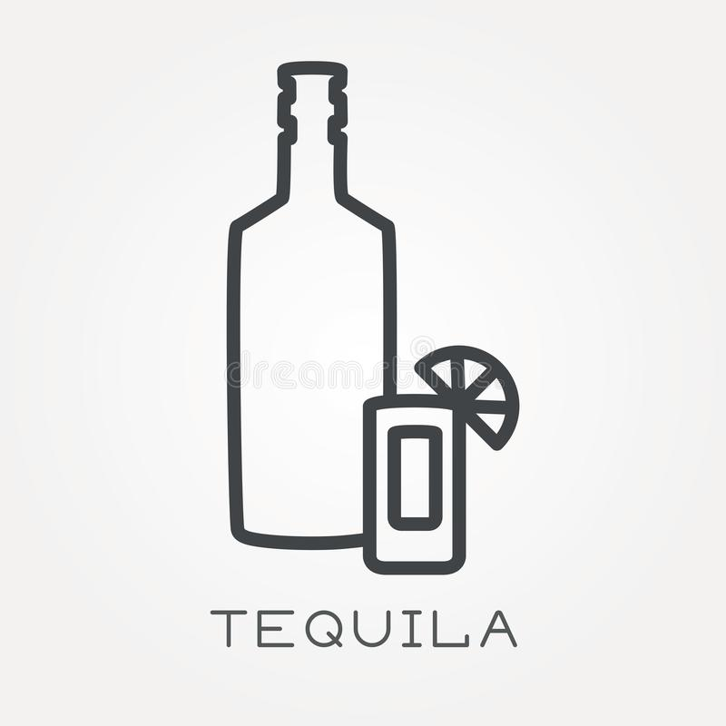 Plana vektorsymboler med tequila vektor illustrationer