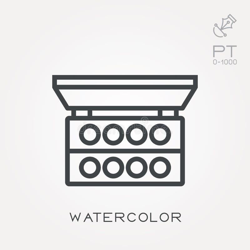 Plana vektorsymboler med vattenfärgen stock illustrationer