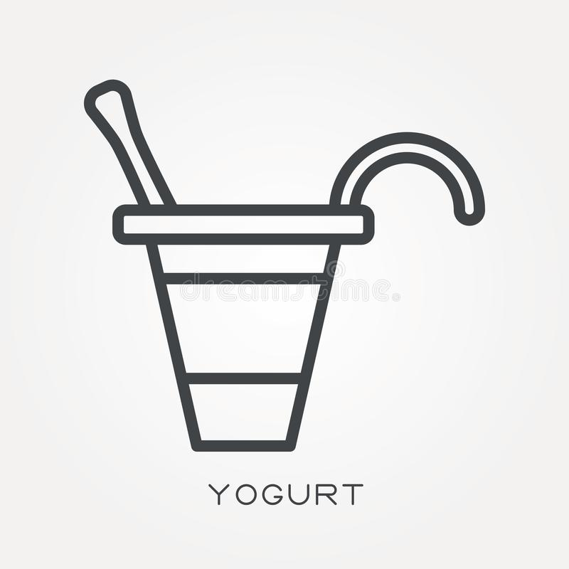 Plana vektorsymboler med yoghurt royaltyfri illustrationer