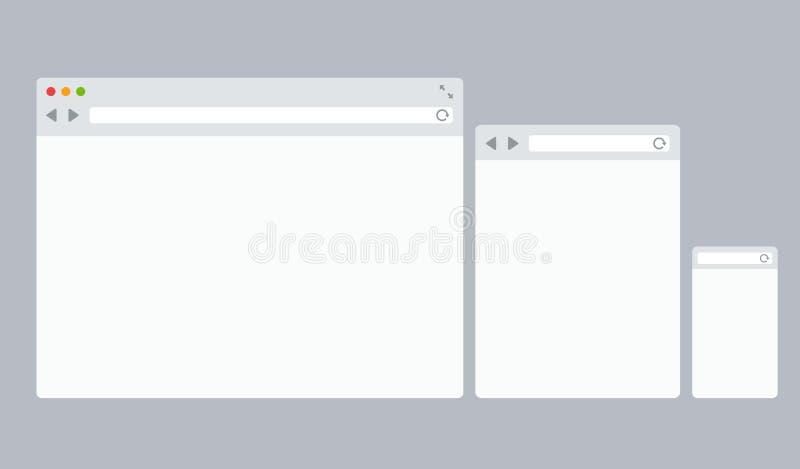 Plana vektorwebbläsaremallar vektor illustrationer