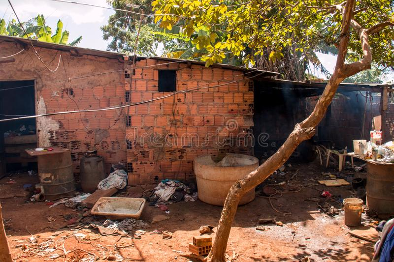 Planaltina, Goiás, Brazil-April 28, 2018: Extreme Poor housing conditions that are commonly found throughout Brazil. royalty free stock photography