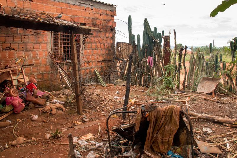Planaltina, Goias, Brazil-April 28, 2018:  Extreme Poor housing conditions that are commonly found throughout Brazil. Planaltina, Goias, Brazil-April 28, 2018 royalty free stock images