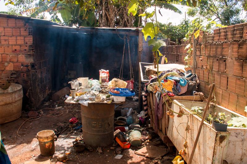 Planaltina, Goias, Brazil-April 28, 2018:  Extreme Poor housing conditions that are commonly found throughout Brazil. Planaltina, Goias, Brazil-April 28, 2018 royalty free stock image