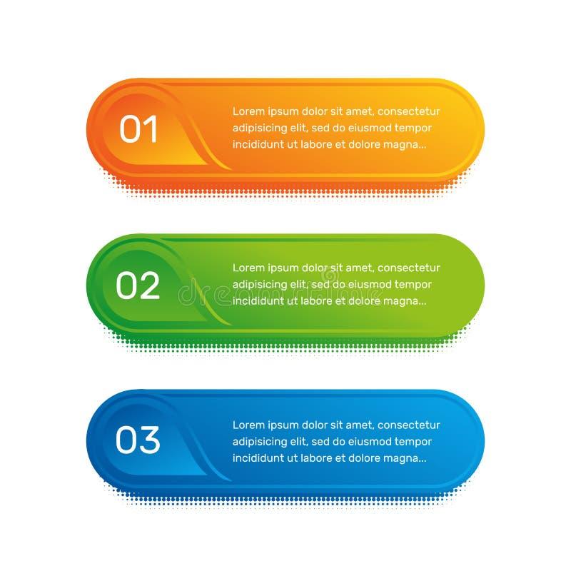 Planarbeitsfluß Buntes Menü des Entwurfs für APP-Schnittstelle Zahlwahlen Webdesign von Knopfelementen Infographics 1 stock abbildung