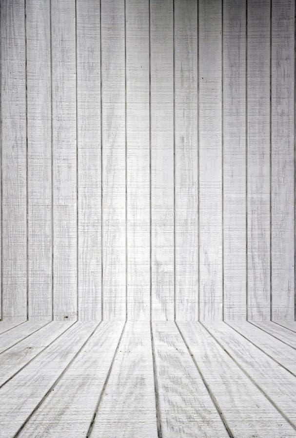 Plance di legno bianche con il pavimento fotografia stock