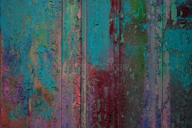 Plance di legno del fondo con rosso scheggiato del turchese di colore fotografia stock